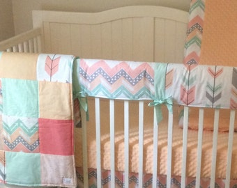 Bumperless Peach Gray and Mint Arrows Crib Bedding Set
