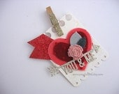 Felt Heart Red Rose You and Me Clip On Gift Tag~Gift Topper~pretty packaging~pink~champagne gold~cherry red~Love gift tags