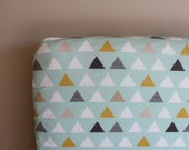 Fitted Crib Sheet or Changing Pad Cover - Modern Geometric Triangles in Mint, Mustard, and Grey