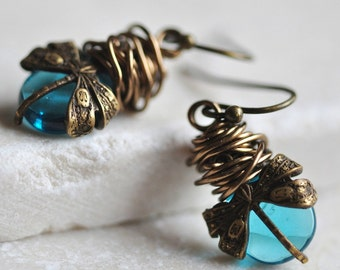 Dragonfly Earrings, Aqua teardrop Briolettes, wrapped in warm Antique Bronze finish wire, steampunk, romantic earrings, wire wrapped earring