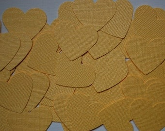 Yellow Shimmer Heart Punch Cut Outs Confetti - Set of 50 hearts - Ready to Ship