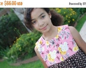 SALE Pink Flea Market Fancy and Brown Dots Babydoll Top and Gaucho Set Custom Girls