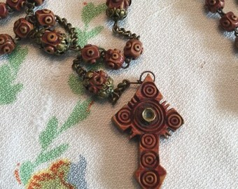 MAKE an OFFER! Mid 1800's Stanhope Bovine Carved Bone Dyed Rosary Brown Highly Detailed Peep Hole Religious Christian Roman Catholic