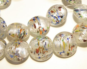 DESTASH - Six (6) Clear Lentil Glass Beads with Silver Foil and Multicolor Glass Blobs