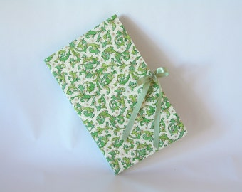 Blank book journal chapbook-green Florentine print with spring moss ribbon-(6x9in.)-Ready to ship