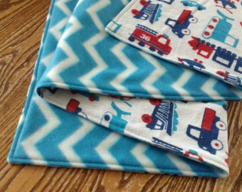 "Baby Boy Blanket, Flannel and Fleece 29x38"", ready to ship"