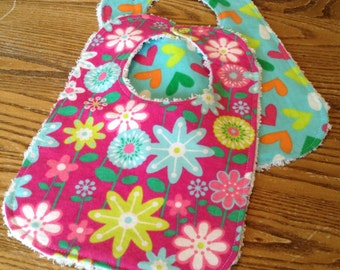 Beautiful Flannel and Chenille  Baby Bib Set for Baby Gir, ready to ship
