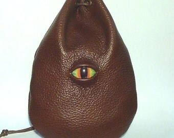 Taller Dragon eye  leather runes coin dice pouch bag belt pouch Fantasy Medieval Celtic