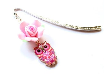 Sweet Mini Pink Rose Polymer Flower Owl Antique Look Silver Plated Bookmark Gift Idea Owl Lover