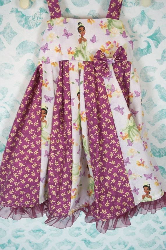 custom boutique twirl dress made with disney Tiana fabric 2-6
