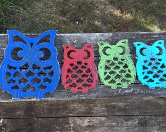 4 Iron Owl Trivets-Upcycled Pop of Color Plant Risers-Retro Kitchen Wall Art-Instant Collection-Owls of Color-Distressed Blue Red Aqua Green