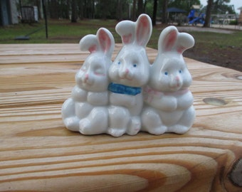 Vintage Bunny Rabbit Trio--White Rabbits--Baby Nursery Decor--Spring Easter Decoration--Terrarium--Childs Room--Cake Topper--Cottage Chic
