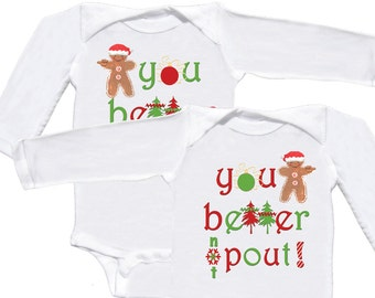 Twin Babies Christmas Bodysuits Funny Twin Christmas long sleeve Rompers  by Mumsy Goose  Infant One Pieces for the Holidays 1st Christmas