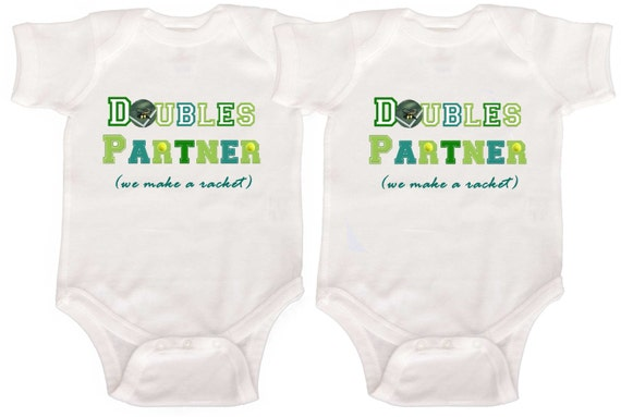 Funny Twin Baby Bodysuits Tennis Rompers by Mumsy Goose  Newborn Creepers Infant Tshirts to Kids Tee's