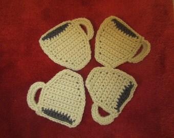Cream Crochet Coffee Mug Coasters - Set of Four