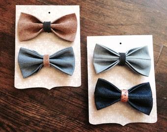 Denim & Leather Bow Tie Baby/Toddler/Child