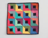 Baby Blankie, Lovey, Security Blanket -  Modern Patchwork Mirrored Squares