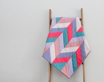 Modern Baby Girl Quilt, Baby Blanket, Crib Quilt, Stroller Blanket - Pink and Purple Herringbone