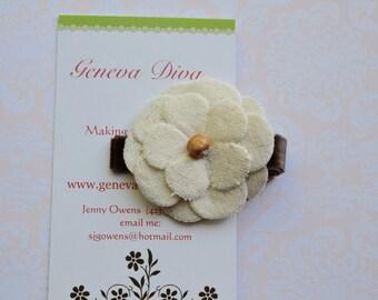 Ivory Linen Flower Clip