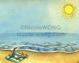 Original 4x6 Watercolor Painting and Ink Drawing Art -- Sunbathing pups