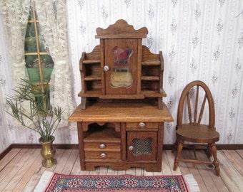 "Vintage Dollhouse Furniture - Oak Cupboard or Sideboard - 1"" Scale"
