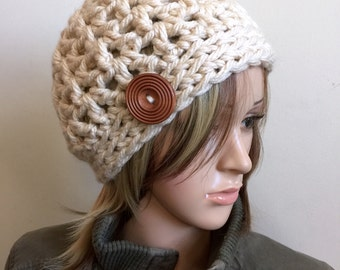 All Season Beanie in Winter White - Beanie Kufi - Soft Comfortable - Large Wooden Button Accent - Women Girl Teen
