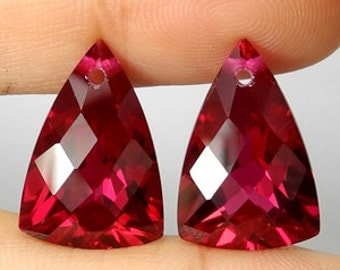 Large Top Grade AAA  Red Topaz Fancy Faceted Pear Briolette Drop Beads Focal Pendant size Matching Pair