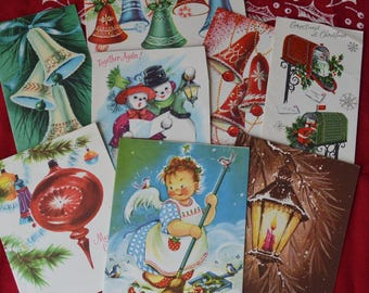 8 Vintage Unused Christmas Greeting Cards