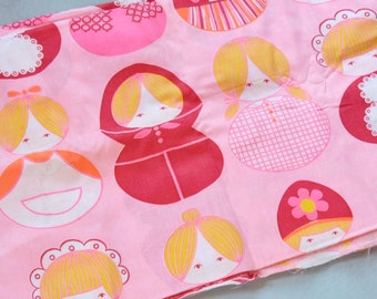 Vintage Mod Pink Cotton Fabric with Roly Poly Dolls 3 Yards Ames Dept Store