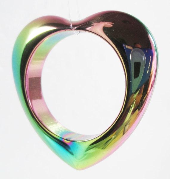 Rainbow Hematite Heart Pendant Bead Frame 35mm Non-magnetic