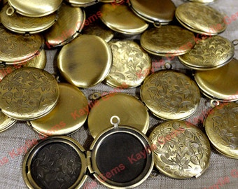 SALE - 10 Round Lockets Oil Rubbed Burnished Antique Brass 27mm