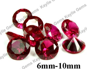 Synthetic Ruby Lab Created Gemstone Red Corundum Round Table Cut 10mm, 8mm, 6mm