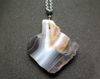 mens agate necklace. wire wrapped stone pendant. stainless steel chain necklace.