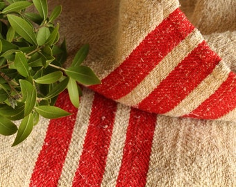 c 719  antique BRIGHT RED twill tablerunner cushion grain sack upholstery fabric 20.08 wide