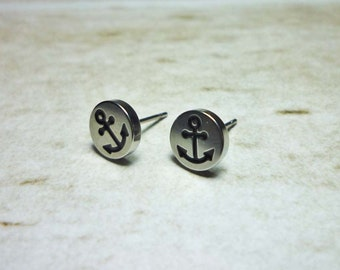 Anchor Silver Round Stud Earrings