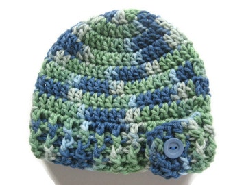 Ready To Ship - Crochet Baby Boy Hat - Blue and Green Baby Hat - Button Flap Baby Boy Hat - Size 3 to 6 Months