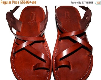 15% OFF Brown Roxy Leather Sandals for Men & Women - Handmade Sandals, Leather Flip Flops, Jesus Sandals, Unisex Sandals, Brown Sandals