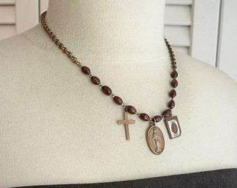 Rosary necklace - rosary chain and medals recycle - One of a Kind bycat
