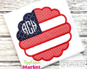 Machine Embroidery Design Applique Flag Scallop INSTANT DOWNLOAD