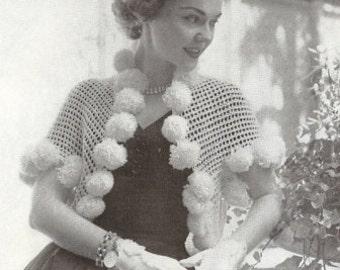 Pompom Shrug Vintage Crochet Pattern 110