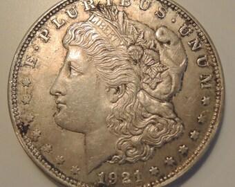 Vintage 1921 Morgan Silver Dollar - 1900 Morgan Dollars, USA Silver Coins, Collectable Coins, FREE Shipping