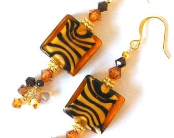 Tiger eye earrings, striped topaz and brown, lampwork glass and crystal