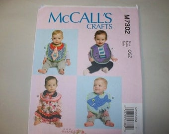 New McCall's Baby Bibs Pattern, M7302 (Free US Shipping)