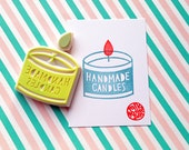 handmade candles rubber stamp. craft hand carved rubber stamp. container candle and flame stamp. for artists. gift wrapping. set of 2