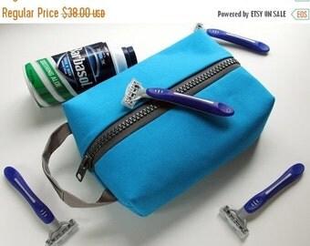 Mens Shaving Kit, Dopp Kit, Travel Kit, Vegan Shaving Kit, Canvas Travel Case, Blue Shaving Bag, Cosmetic Bag, Sundries Bag, Gr