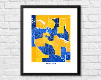 Ann Arbor Map Print.  Choose the Colors and Size.  Perfect Art for your favorite University of Michigan Wolverine.