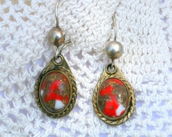 vintage Silver and Gold Vermeil Earring with Unusual Red Gold Specks and White Stone