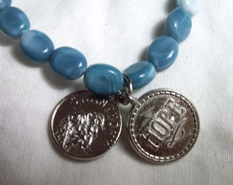 PEACE & HOPE Beaded Charm Bracelet Jewelry St. Anthony Prayer Coin