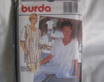 Sewing pattern, Vintage BURDA Blouse and Vest pattern, uncut, never used