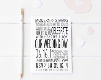 Wedding Invitation Stamp   Wedding Stamp   Custom Wedding Stamp   Custom Stamp   Personalized Stamp   Modern Wedding Invitation   W19
